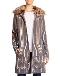 Ella Moss - Faux Fur Trim Sweater Coat - Lyst