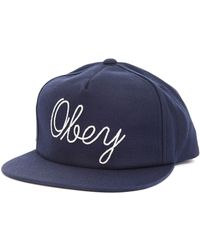 Obey Needle Cap Navy Blue Woolen - Lyst