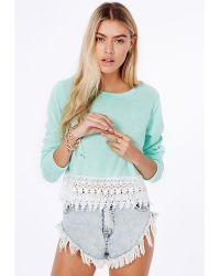 Missguided Adelmira Crochet Hem Cropped Jumper In Mint - Lyst
