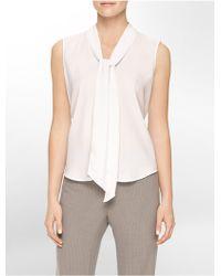 Calvin Klein White Label Drape Tie Front Sleeveless Top - Lyst