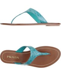 Prada Thong Sandal blue - Lyst