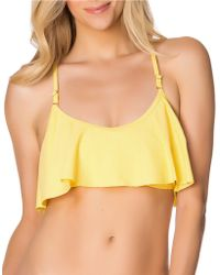 Jessica Simpson Crochet-Back Flounce Swim Bra - Lyst