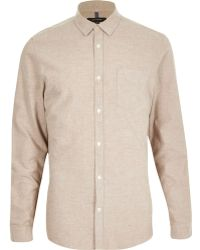River Island Camel Brushed Cotton Long Sleeve Shirt - Lyst