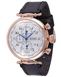 Ritmo Mundo - 'vintage' Chronograph Leather Strap Watch - Lyst