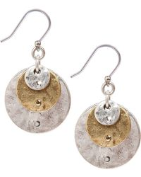 Lucky Brand - Twotone Hammered Disc Drop Earrings - Lyst