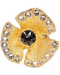 Alexander McQueen Crystal Flower Skull Ring - Lyst