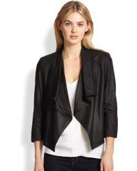Alice + Olivia | Colton Draped Leather Jacket | Lyst