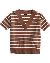 J.Crew | Striped Short-sleeve V-neck Sweater | Lyst