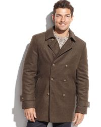 Tommy Hilfiger Double-breasted Olive Wool-blend Peacoat - Lyst