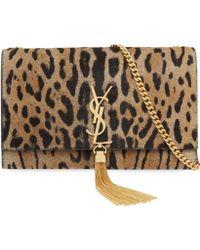 Saint Laurent Leopard-Print Calf-Hair Clutch Bag Bag - For Women - Lyst