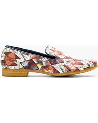 Facetasm - Burgundy and Yellow Leaf Print Loafers - Lyst