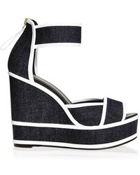 Pierre Hardy Graphic Denim Wedges - Lyst