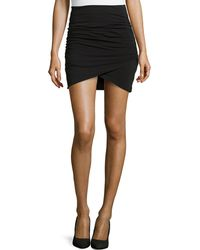 James Perse Wrapstyle Draped Mini Skirt - Lyst