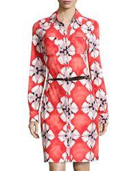 BCBGMAXAZRIA Printed Jersey Belted Shirtdress - Lyst