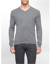Calvin Klein White Label Cotton Modal V-Neck Sweater gray - Lyst