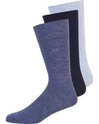 Calvin Klein Denim Blue 3 Pack Plain Socks blue - Lyst