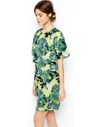 Asos Salon Printed Embellished Dress - Lyst