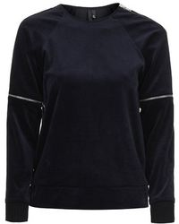 Topshop Velvet Zip Sweat by Boutique - Lyst
