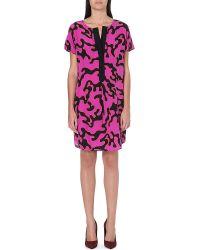 Diane Von Furstenberg Swirl Print Silk Shift Dress Purple Multi - Lyst
