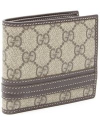 Gucci Beige And Ebony Sima Leather And Canvas Bi-Fold Wallet - Lyst