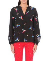Juicy Couture Love Bird Print Silk Blouse P Blk Lovebirds Z247 - Lyst
