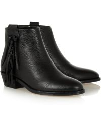 Valentino Fringed Textured-Leather Ankle Boots - Lyst