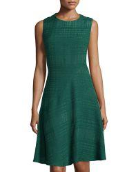 Oscar de la Renta Textured Fit-And-Flare Sleeveless Dress - Lyst