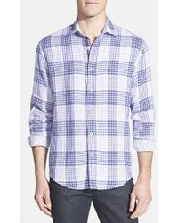 Bugatchi Shaped Fit Plaid Linen Sport Shirt - Lyst