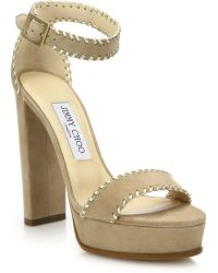 Jimmy Choo | Holly 120 Whipstitched Suede & Metallic Leather Platform Sandals | Lyst