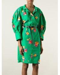 Yves Saint Laurent Vintage Floral Print Shirt Dress green - Lyst