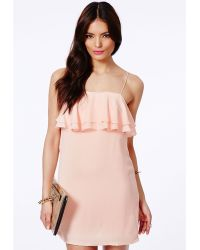 Missguided Lanty Shift Dress With Frill In Nude - Lyst