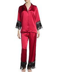 Josie Natori Lace-trim Satin Pajama Set - Lyst