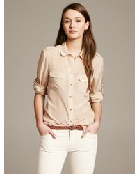 Banana Republic Heritage Tipped Silk Blouse New Sand - Lyst