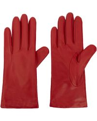 Portolano Small Red Basic Leather Gloves - Lyst