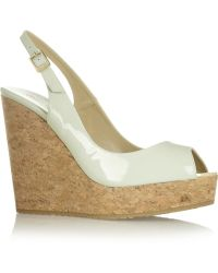 Jimmy Choo Prova Patent-leather Wedge Slingbacks - Lyst