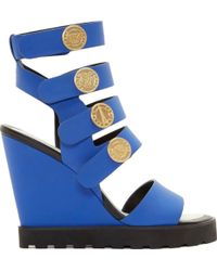 Kenzo Cobalt Leather Medallion Wedge Sandals - Lyst