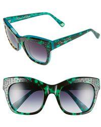 Oscar de la Renta - '214' 53mm Sunglasses - Turquoise/ Tortoise - Lyst