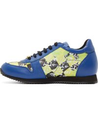 Versus  Yellow Abstract Print Sneakers - Lyst