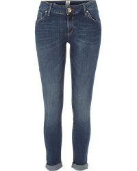 River Island Dark Wash Cara Super Skinny Reform Jeans - Lyst
