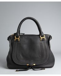 Chloé Black Leather 'Marcie' Large Stitched Detailed Top Handle Bag - Lyst