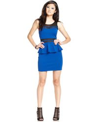 Material Girl Juniors Meshpanel Peplum Dress - Lyst