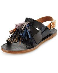 Isabel Marant Etoile Flat Leather Pompom Sandal - Lyst