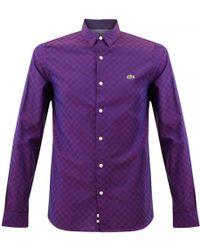 Lacoste L!ive - Poplin Check Purple Shirt Ch1298 - Lyst