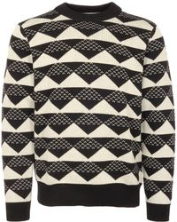 White Mountaineering - Black Triangle Jacquard Mock Neck Jumper - Lyst
