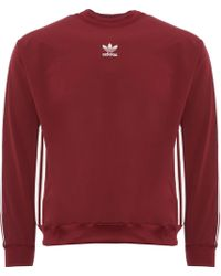 adidas Originals - Authentic Stripe Crew Neck Sweatshirt - Lyst