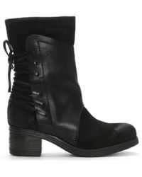Moda In Pelle - Galene Black Leather Lace Back Calf Boots - Lyst