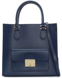 Daniel - Milting Large Navy Leather Structured Tote Bag - Lyst