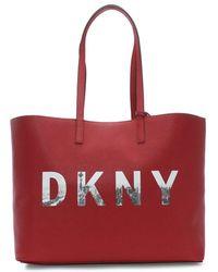 DKNY - Brayden Reversible Mocha Logo Tote Bag - Lyst