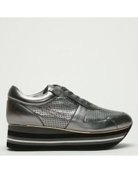 Albano - Frawley Pewter Leather Perforated Flatform Trainers - Lyst