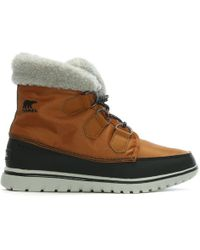 Sorel - Cosy Carnival Caramel & Black Lace Up Sporty Fleece Lined Boots - Lyst